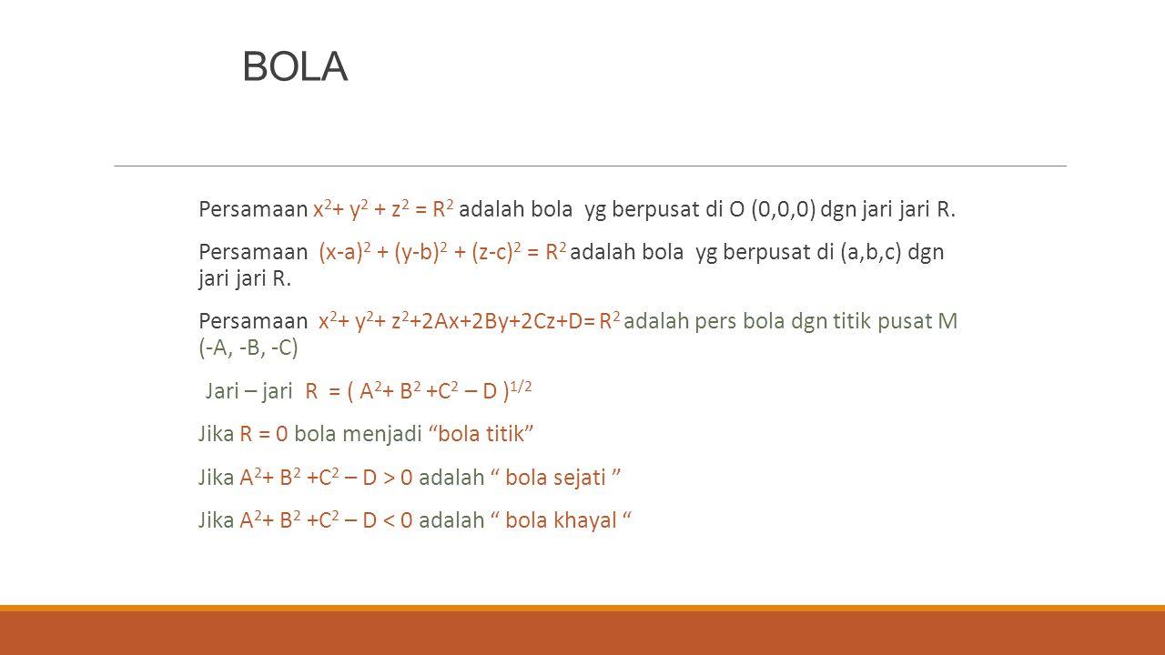 BOLA Persamaan x2+ y2 + z2 = R2 adalah bola yg berpusat di O (0,0,0) dgn jari jari R.