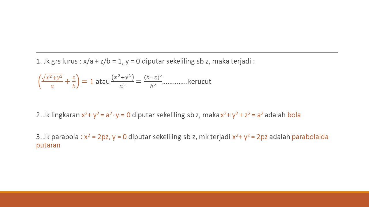 1. Jk grs lurus : x/a + z/b = 1, y = 0 diputar sekeliling sb z, maka terjadi : 𝑥 2 + 𝑦 2 𝑎 + 𝑧 𝑏 =1 atau 𝑥 2 + 𝑦 2 𝑎 2 = 𝑏−𝑧 2 𝑏 2 …………..kerucut