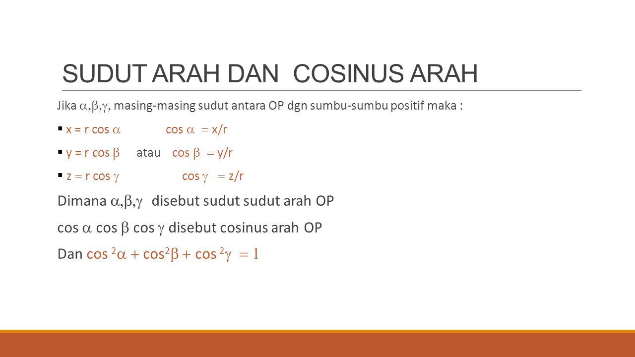 SUDUT ARAH DAN COSINUS ARAH