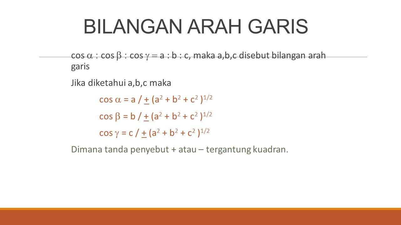 BILANGAN ARAH GARIS cos a : cos b : cos g = a : b : c, maka a,b,c disebut bilangan arah garis. Jika diketahui a,b,c maka.