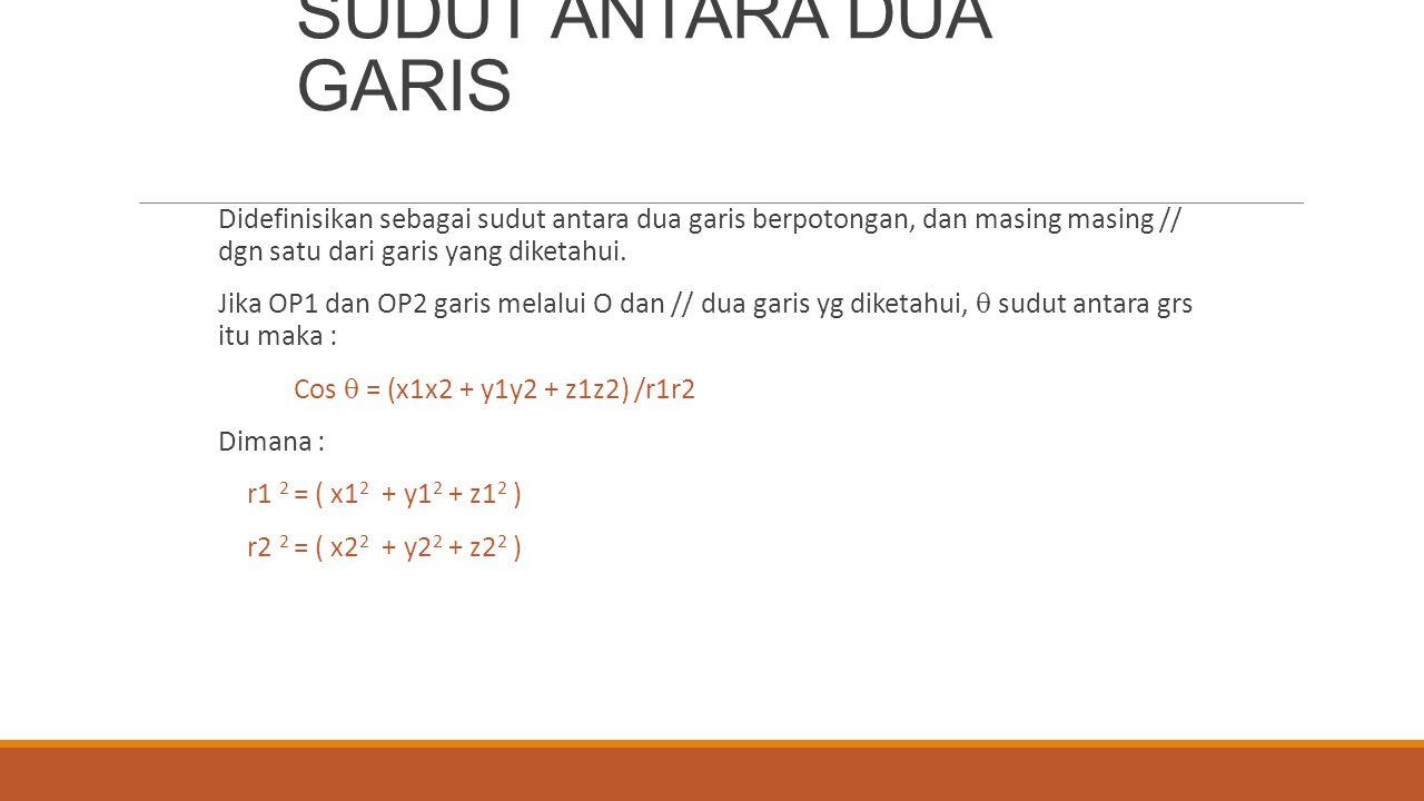 SUDUT ANTARA DUA GARIS Didefinisikan sebagai sudut antara dua garis berpotongan, dan masing masing // dgn satu dari garis yang diketahui.