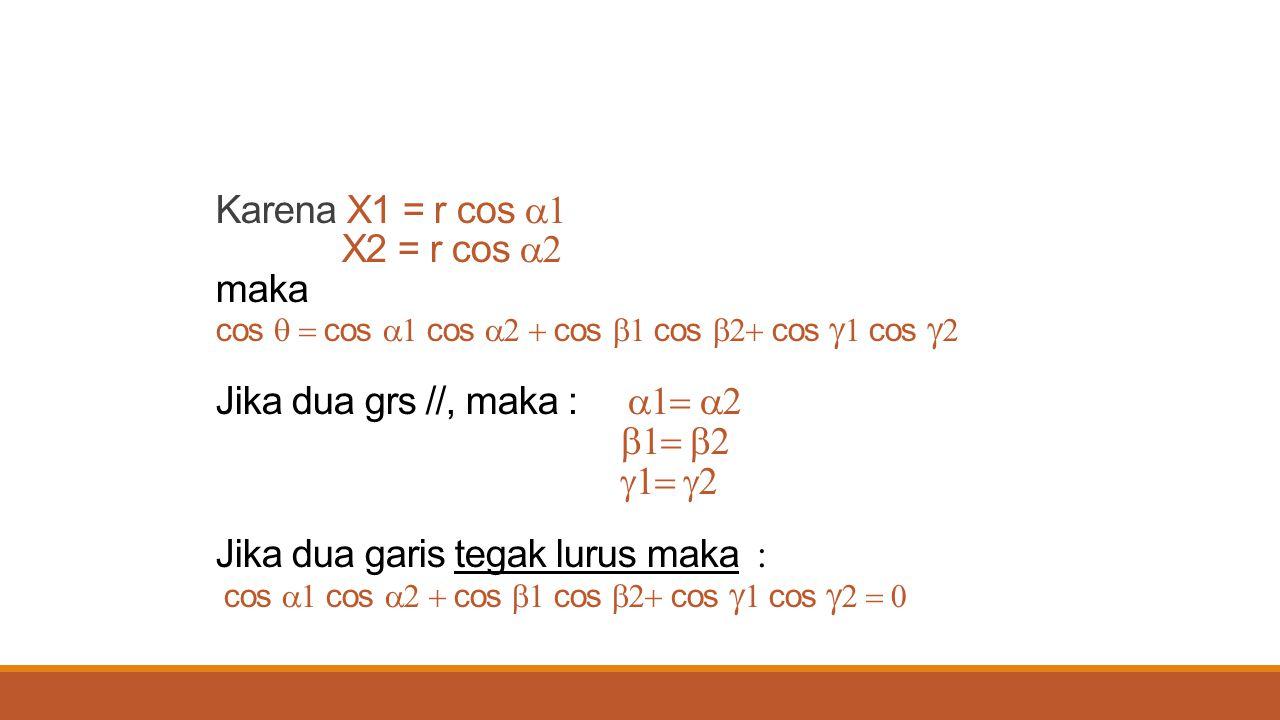 Karena X1 = r cos a1 X2 = r cos a2 maka cos q = cos a1 cos a2 + cos b1 cos b2+ cos g1 cos g2 Jika dua grs //, maka : a1= a2 b1= b2 g1= g2 Jika dua garis tegak lurus maka : cos a1 cos a2 + cos b1 cos b2+ cos g1 cos g2 = 0
