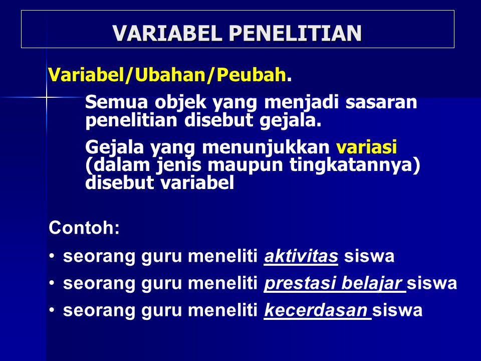 VARIABEL PENELITIAN Variabel/Ubahan/Peubah.