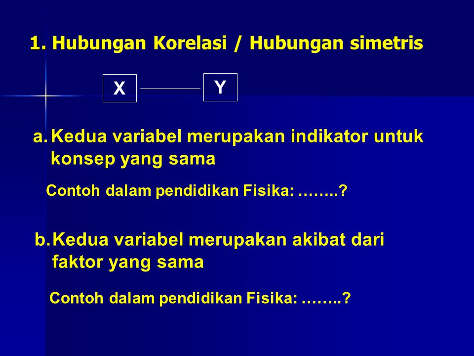 1. Hubungan Korelasi / Hubungan simetris