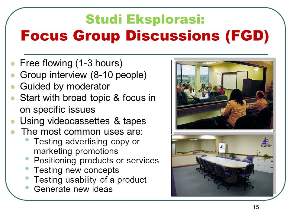 Studi Eksplorasi: Focus Group Discussions (FGD)
