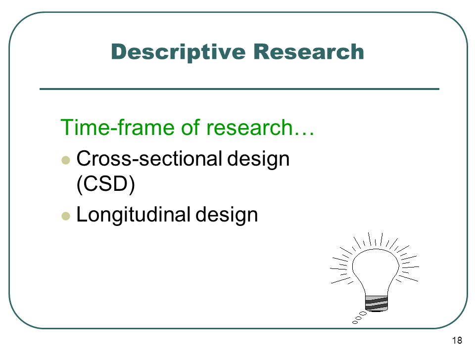 Time-frame of research…
