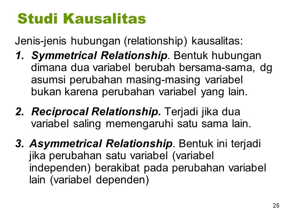 Studi Kausalitas Jenis-jenis hubungan (relationship) kausalitas: