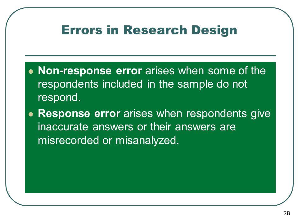 Errors in Research Design