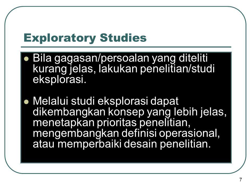 Exploratory Studies Bila gagasan/persoalan yang diteliti kurang jelas, lakukan penelitian/studi eksplorasi.