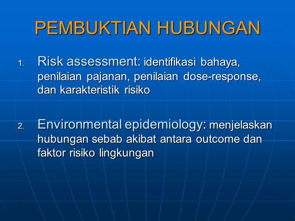 PEMBUKTIAN HUBUNGAN Risk assessment: identifikasi bahaya, penilaian pajanan, penilaian dose-response, dan karakteristik risiko.