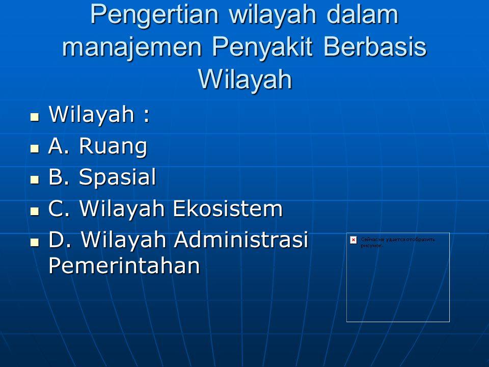Pengertian wilayah dalam manajemen Penyakit Berbasis Wilayah
