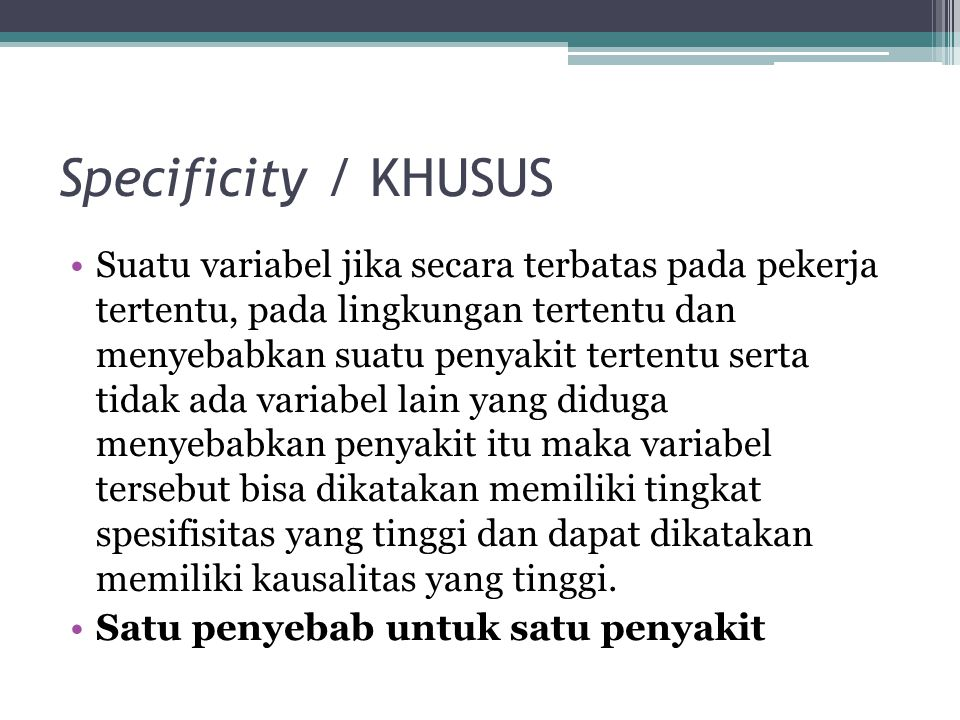 Specificity / KHUSUS