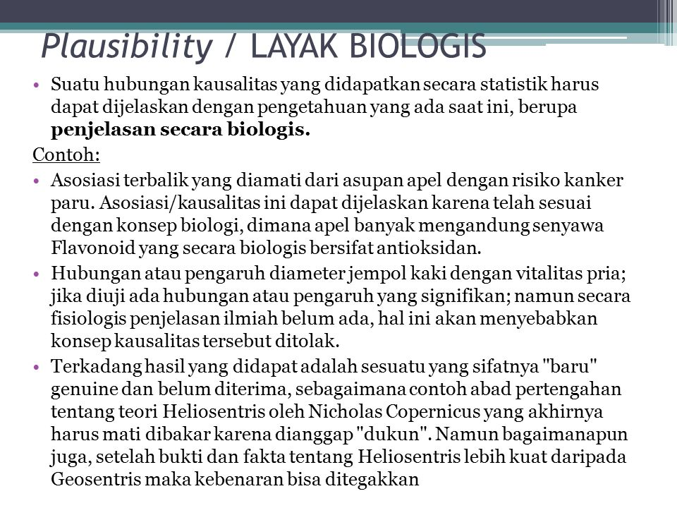 Plausibility / LAYAK BIOLOGIS