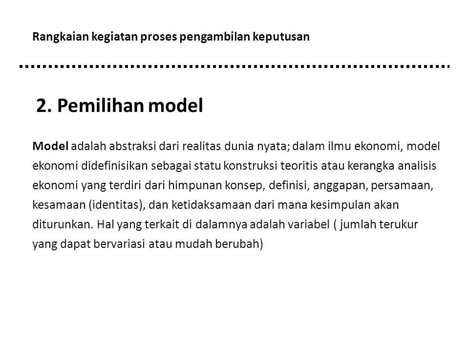 2. Pemilihan model Rangkaian kegiatan proses pengambilan keputusan