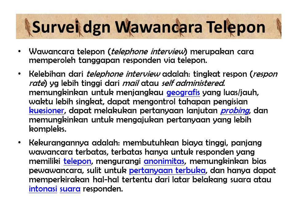 Survei dgn Wawancara Telepon