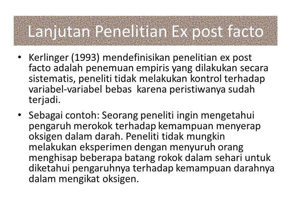 Lanjutan Penelitian Ex post facto