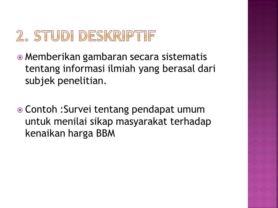 2. Studi deskriptif Memberikan gambaran secara sistematis tentang informasi ilmiah yang berasal dari subjek penelitian.