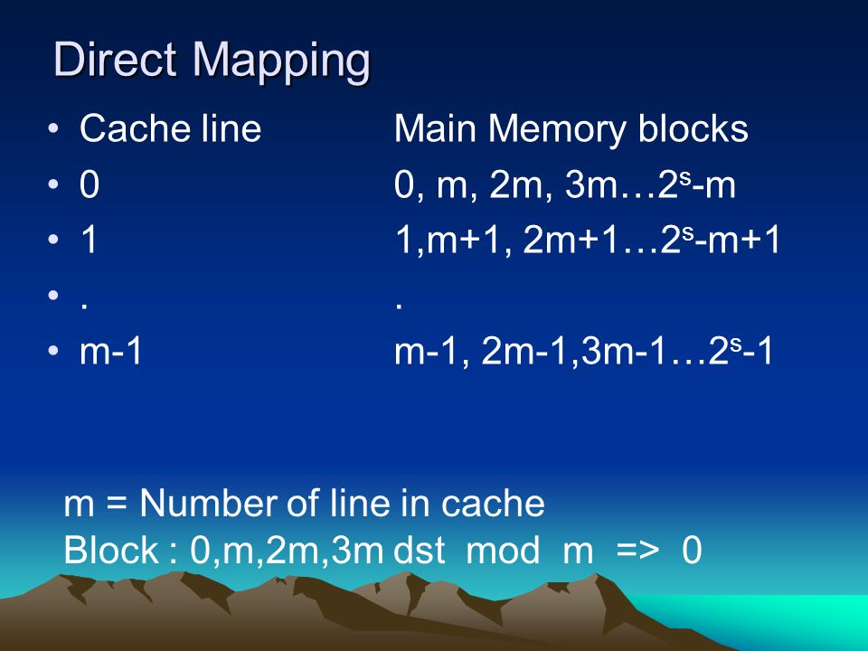 Direct Mapping Cache line Main Memory blocks 0 0, m, 2m, 3m…2s-m