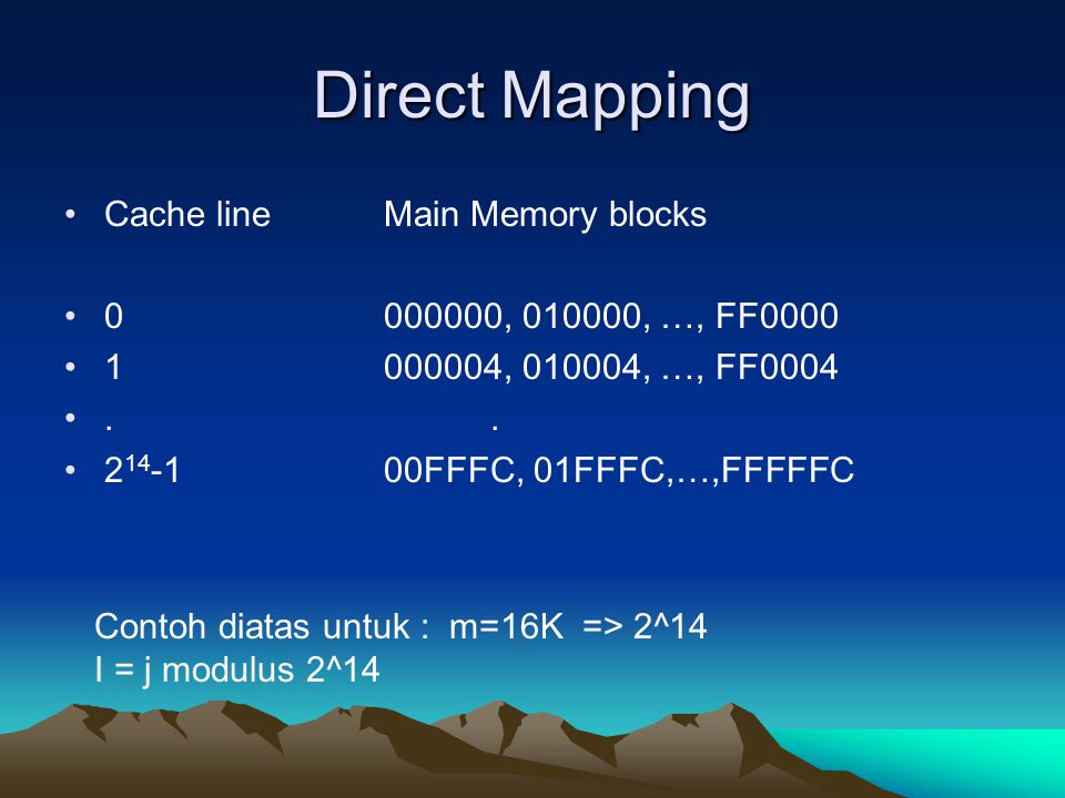 Direct Mapping Cache line Main Memory blocks