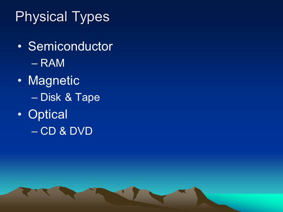 Physical Types Semiconductor RAM Magnetic Disk & Tape Optical CD & DVD