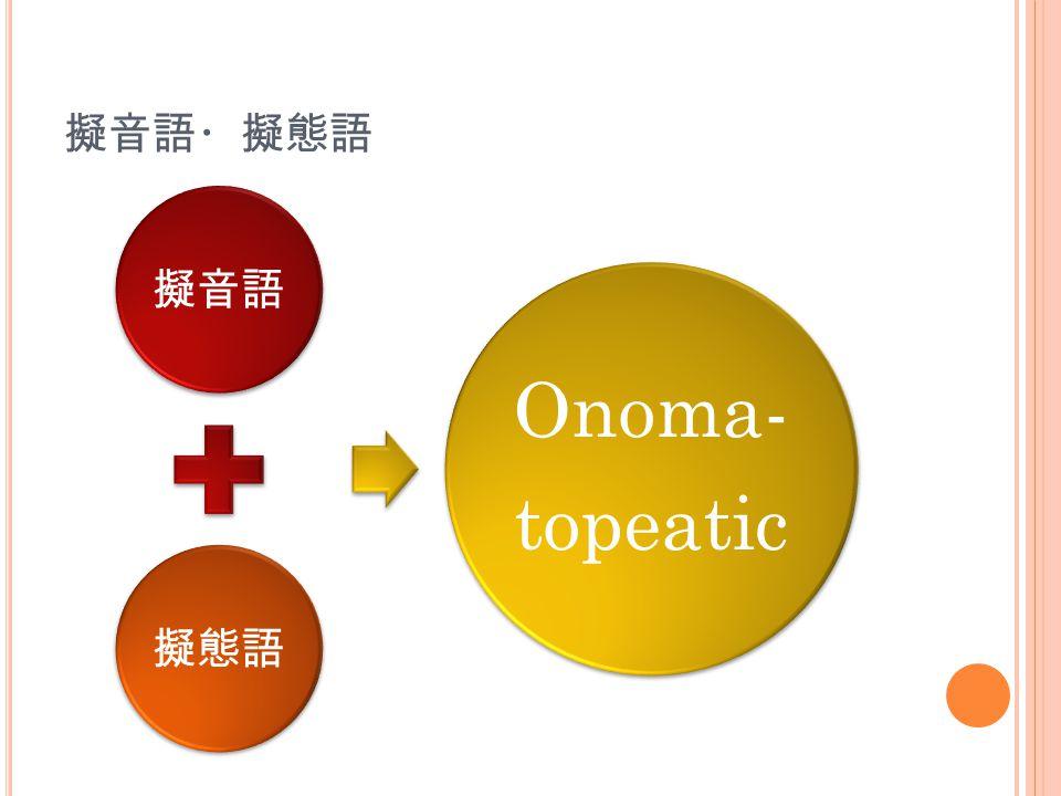 擬音語・擬態語 擬音語 擬態語 Onoma- topeatic