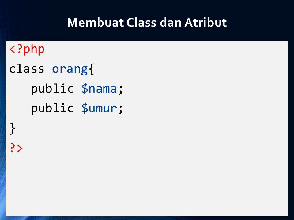 Membuat Class dan Atribut