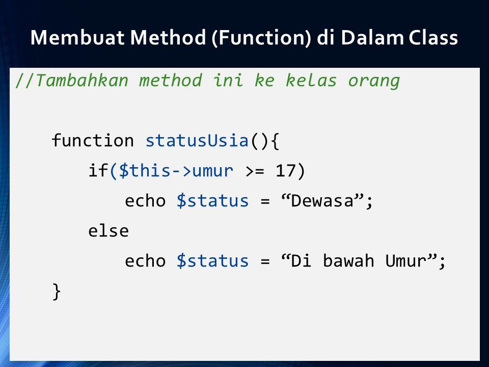 Membuat Method (Function) di Dalam Class