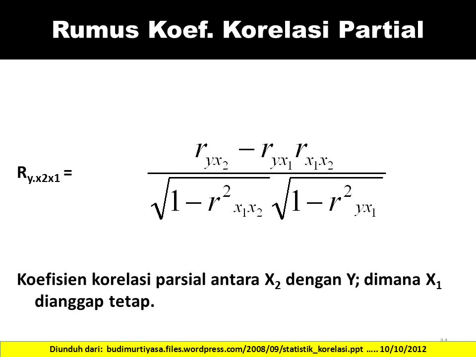 Rumus Koef. Korelasi Partial