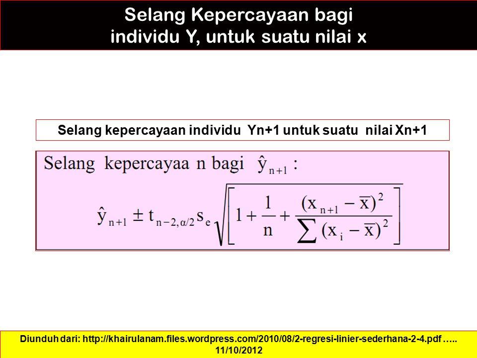 Selang kepercayaan individu Yn+1 untuk suatu nilai Xn+1