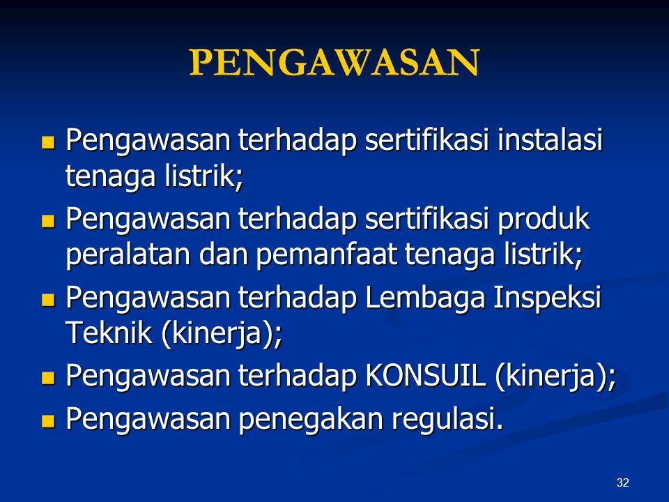 PENGAWASAN Pengawasan terhadap sertifikasi instalasi tenaga listrik;