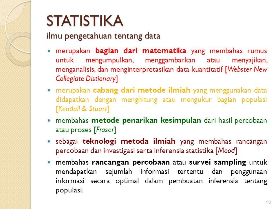 STATISTIKA ilmu pengetahuan tentang data