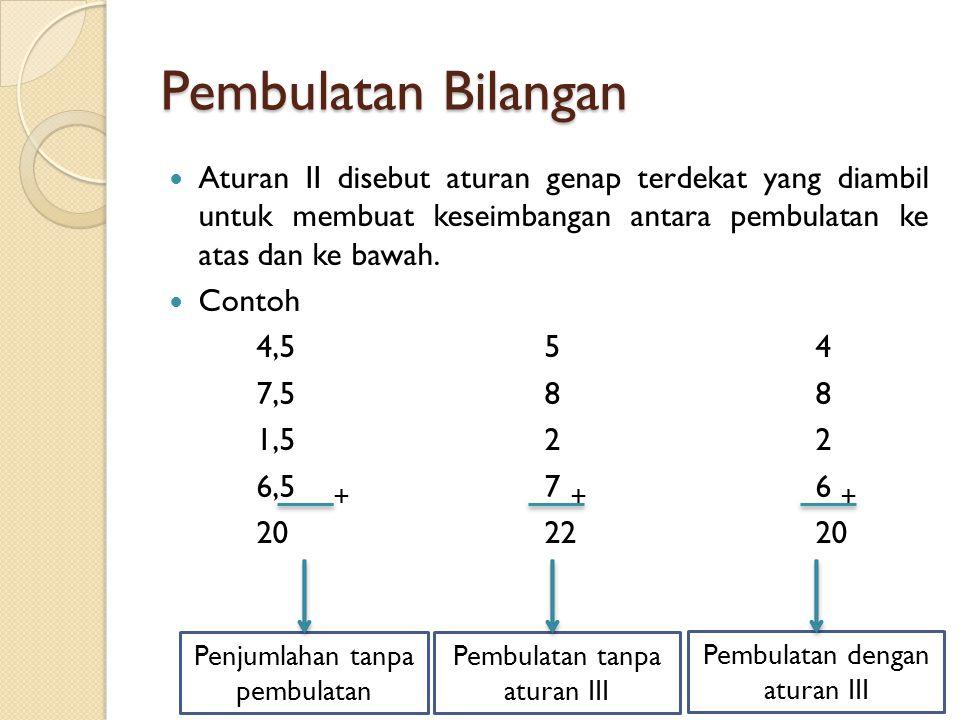 Pembulatan Bilangan Aturan II disebut aturan genap terdekat yang diambil untuk membuat keseimbangan antara pembulatan ke atas dan ke bawah.