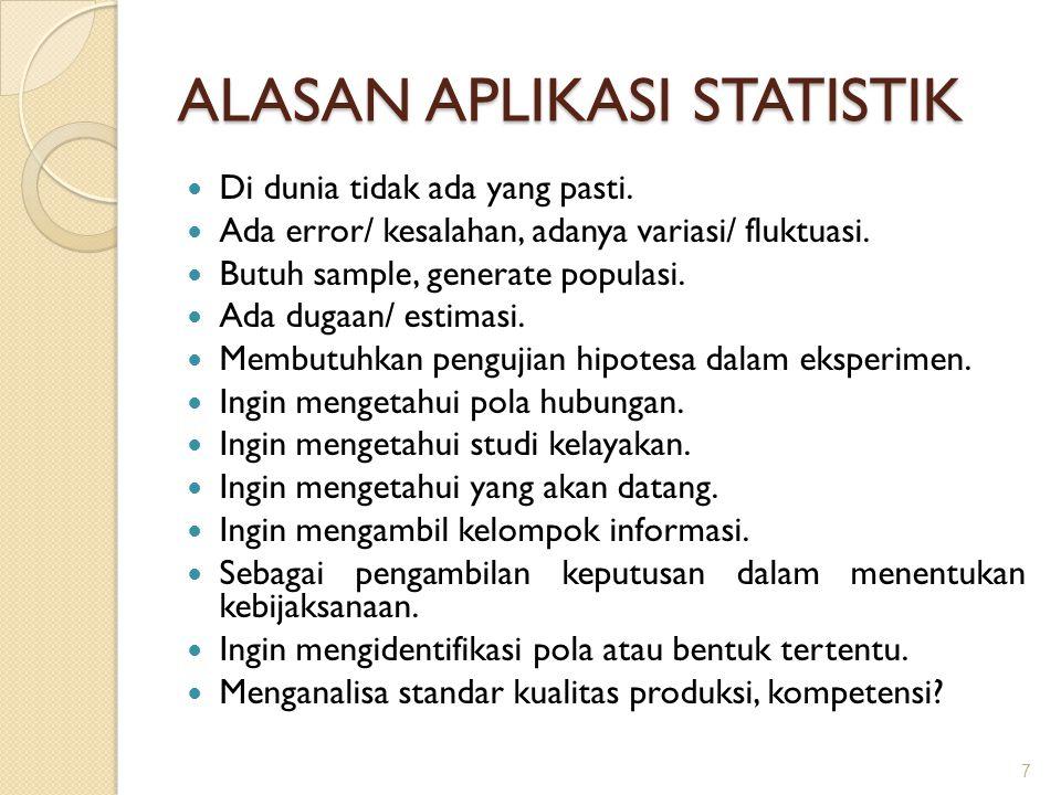 ALASAN APLIKASI STATISTIK