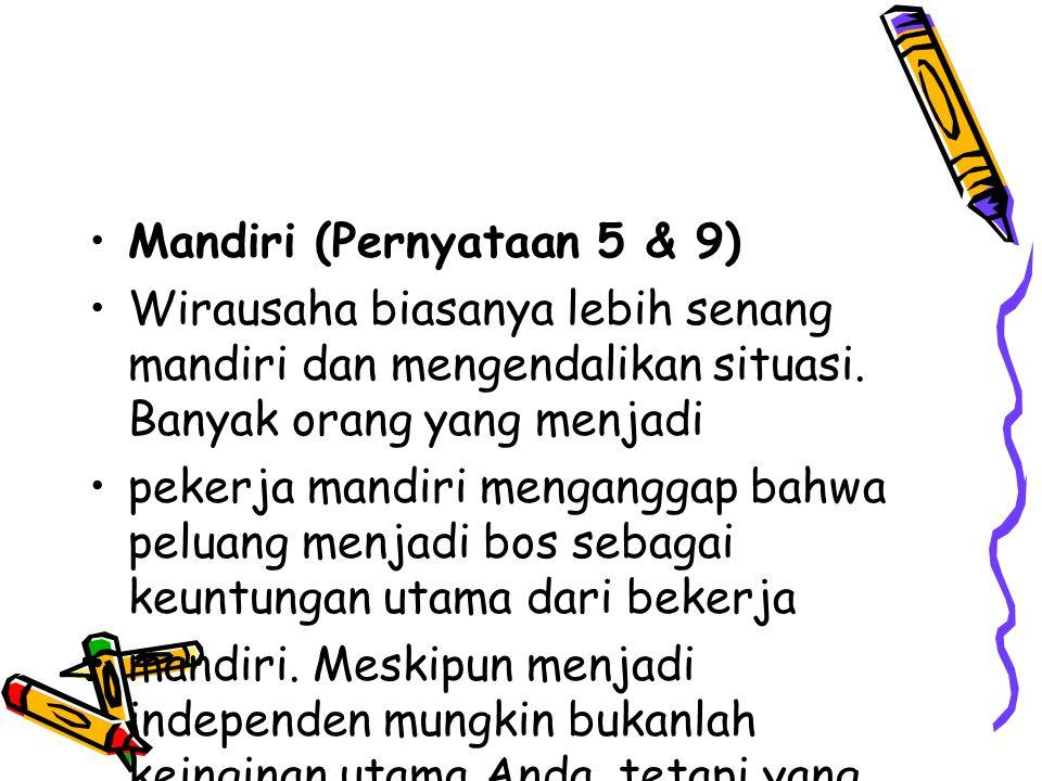 Mandiri (Pernyataan 5 & 9)