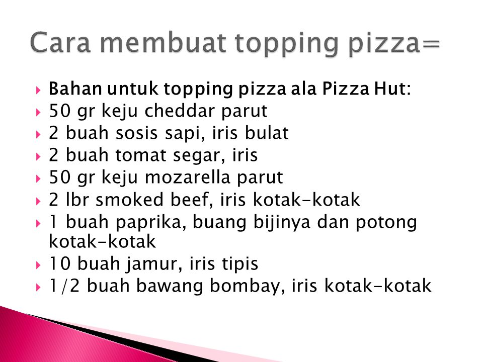 Cara membuat topping pizza=