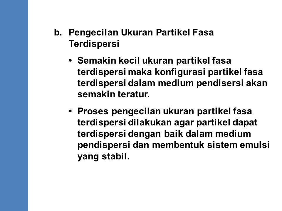 b. Pengecilan Ukuran Partikel Fasa Terdispersi