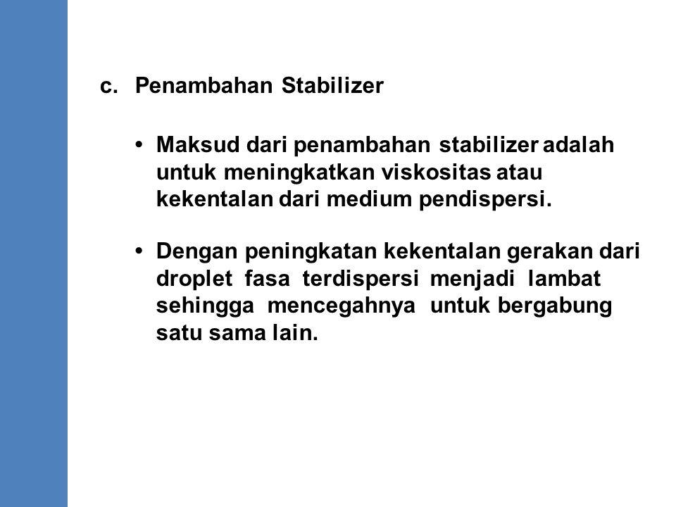 c. Penambahan Stabilizer