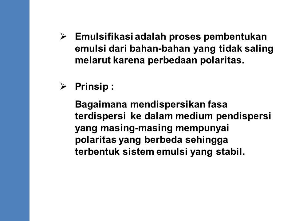 . Emulsifikasi adalah proses pembentukan