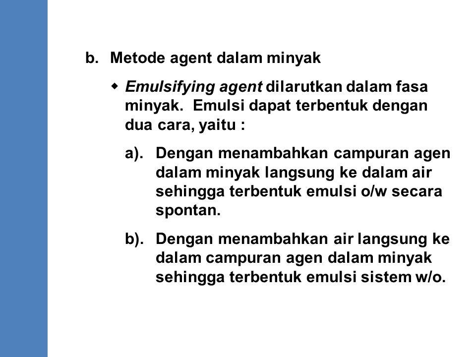 b. Metode agent dalam minyak