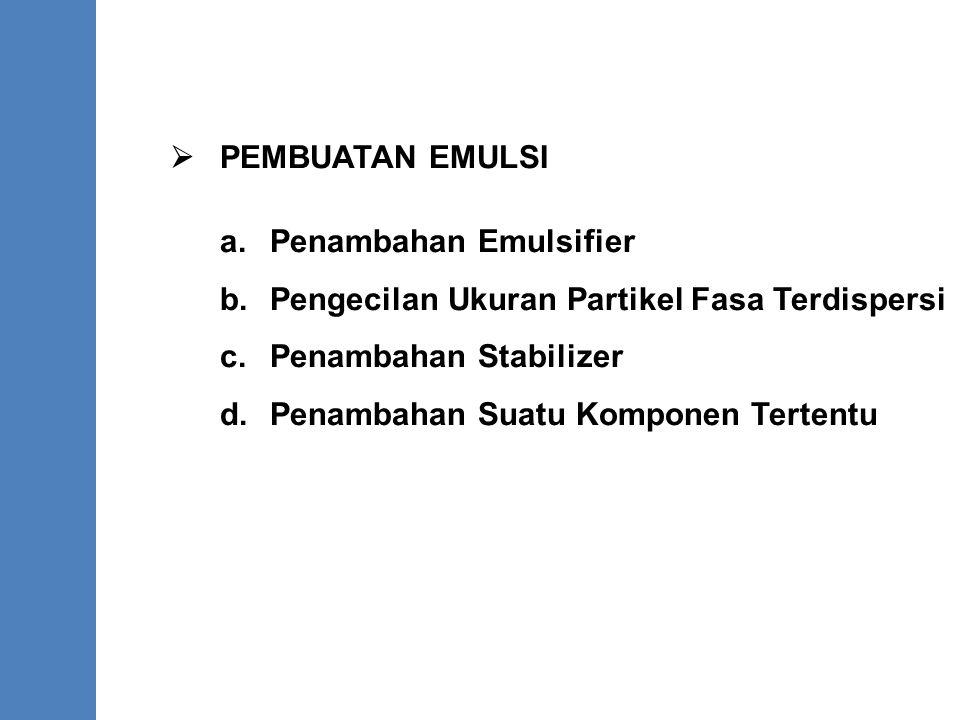  PEMBUATAN EMULSI a. Penambahan Emulsifier. b. Pengecilan Ukuran Partikel Fasa Terdispersi. c. Penambahan Stabilizer.