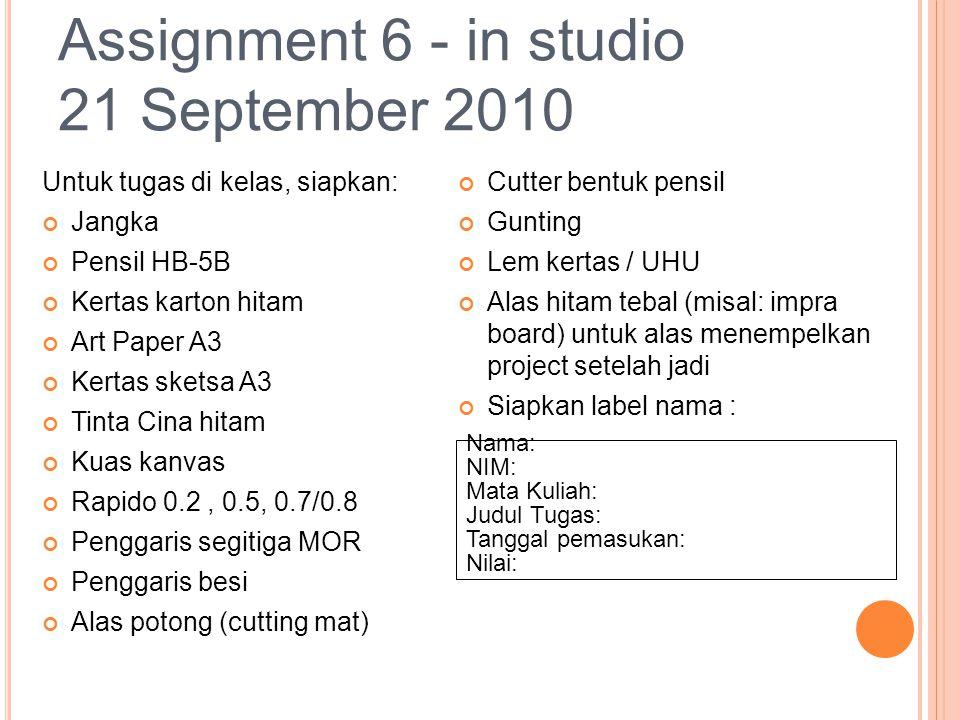 Assignment 6 - in studio 21 September 2010