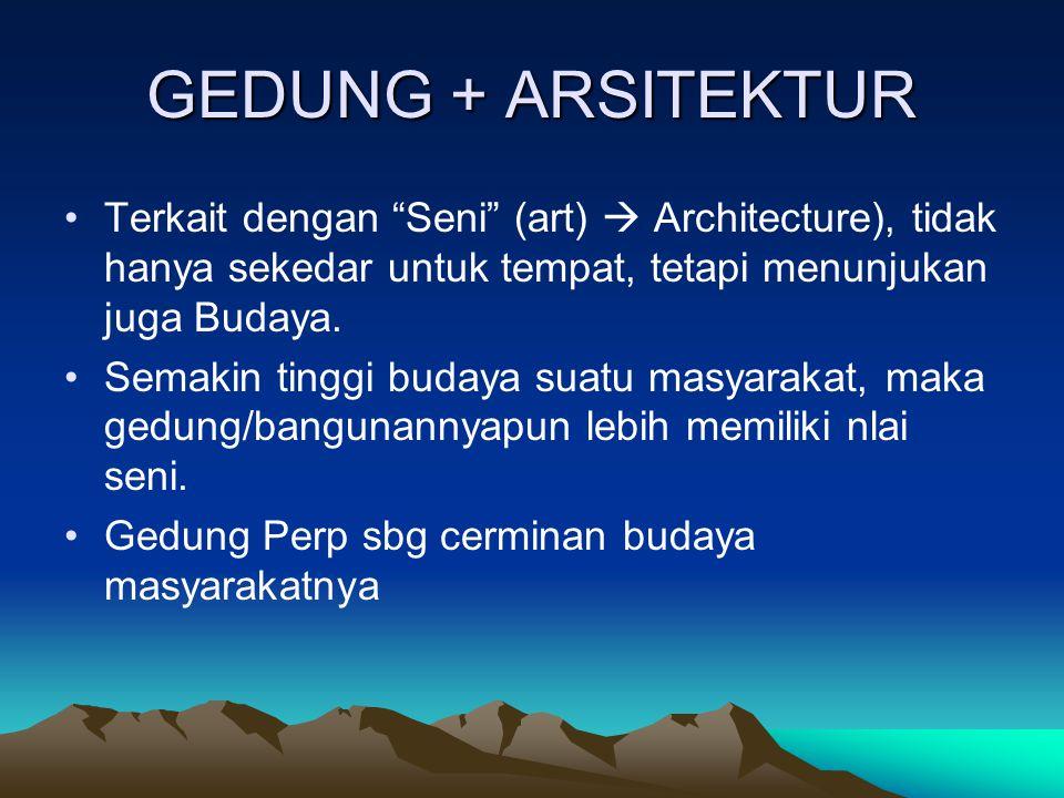 GEDUNG + ARSITEKTUR Terkait dengan Seni (art)  Architecture), tidak hanya sekedar untuk tempat, tetapi menunjukan juga Budaya.