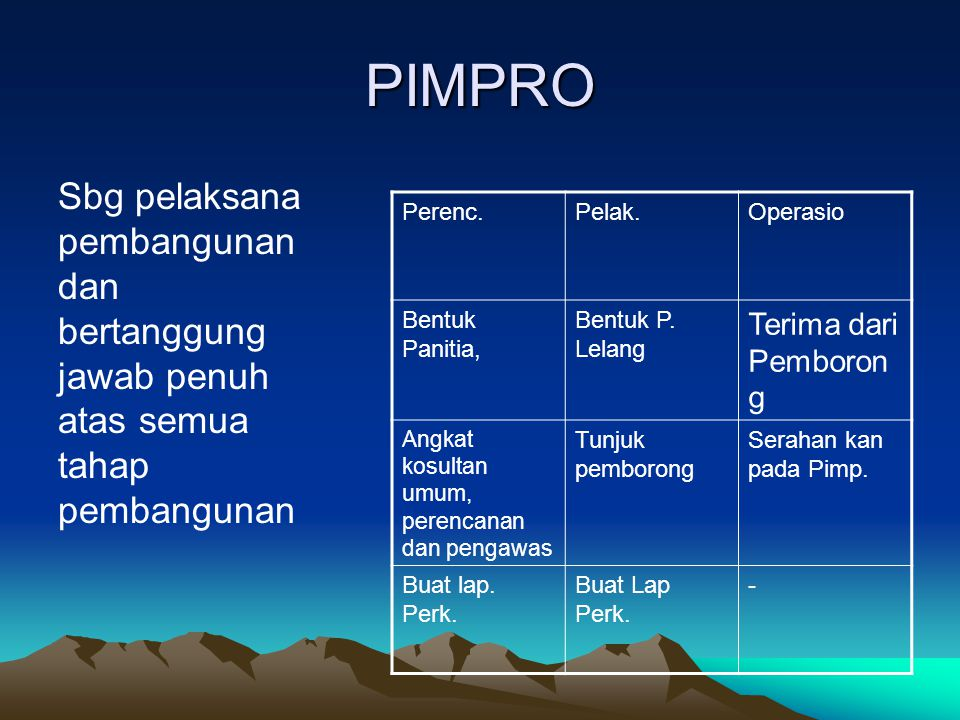 PIMPRO Sbg pelaksana pembangunan dan bertanggung jawab penuh atas semua tahap pembangunan. Perenc.