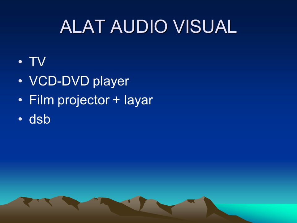 ALAT AUDIO VISUAL TV VCD-DVD player Film projector + layar dsb
