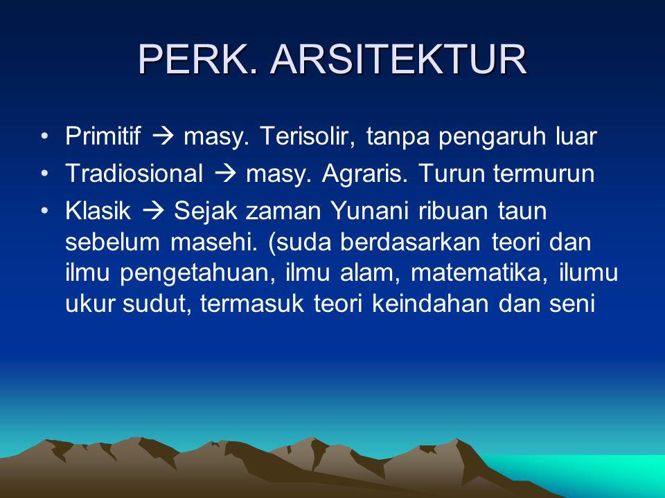 PERK. ARSITEKTUR Primitif  masy. Terisolir, tanpa pengaruh luar