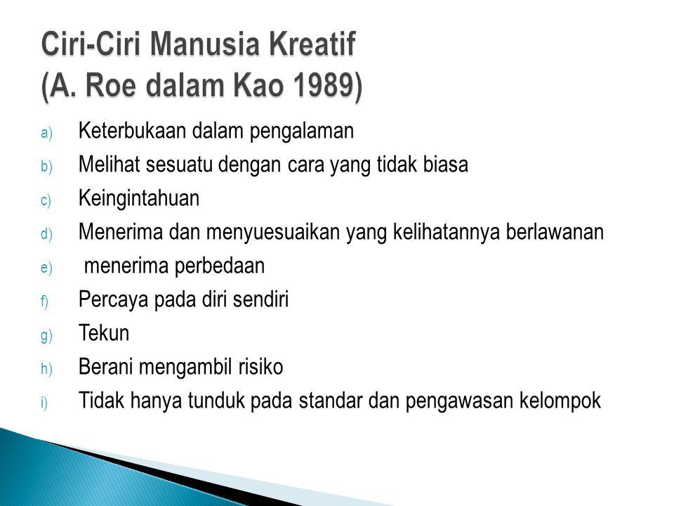 Ciri-Ciri Manusia Kreatif (A. Roe dalam Kao 1989)