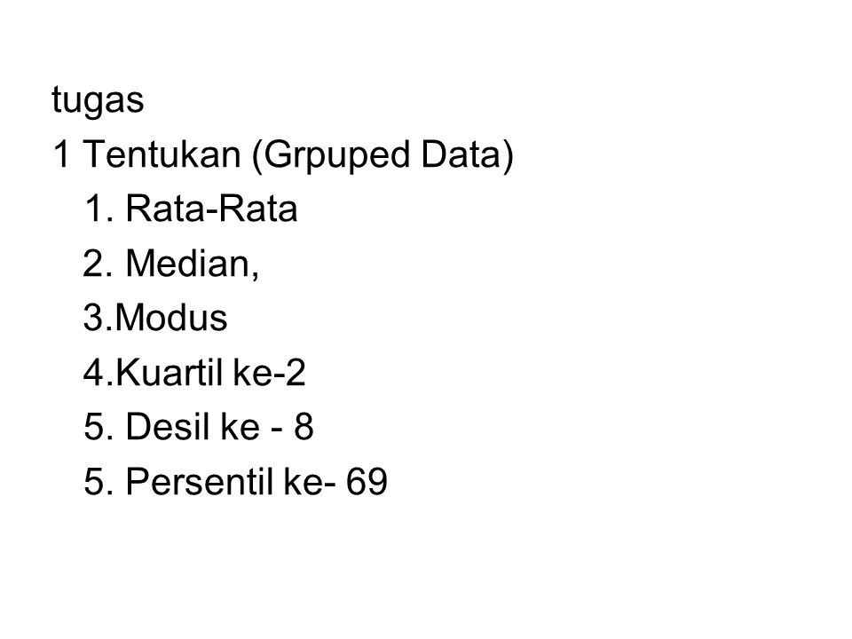 tugas 1 Tentukan (Grpuped Data) 1. Rata-Rata. 2. Median, 3.Modus. 4.Kuartil ke-2. 5. Desil ke - 8.