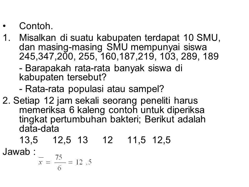 Contoh. Misalkan di suatu kabupaten terdapat 10 SMU, dan masing-masing SMU mempunyai siswa 245,347,200, 255, 160,187,219, 103, 289, 189.