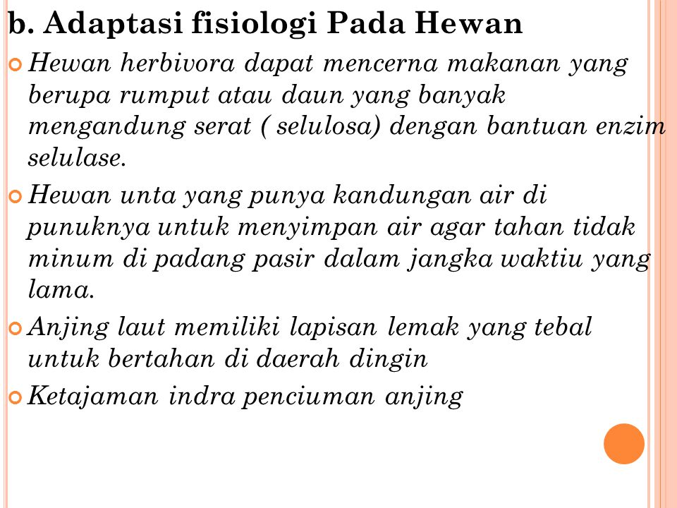 b. Adaptasi fisiologi Pada Hewan