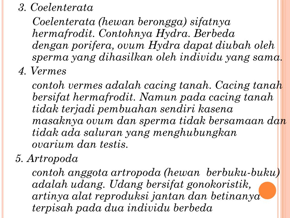 3. Coelenterata Coelenterata (hewan berongga) sifatnya hermafrodit